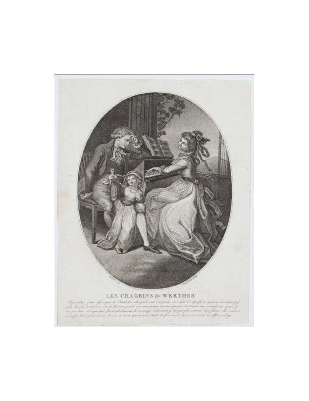 """""""Les Chagrins de Werther. Aujourd'hui j'etais assis près de Charlotte, elle jouoit sur son piano avec tant d'expression [...]"""",<br /> """"Ramberg inv. F. Bartolozzi sculp."""" [c.1780]"""